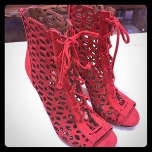 BCBGeneration red suede heels